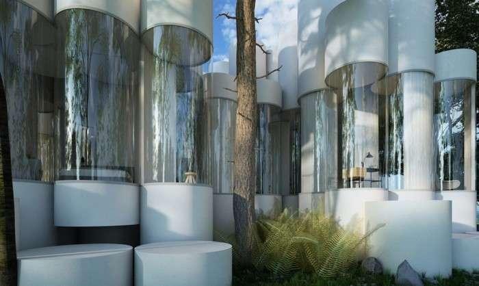 Жизнь без острых углов: дом из стеклянных модульных цилиндров