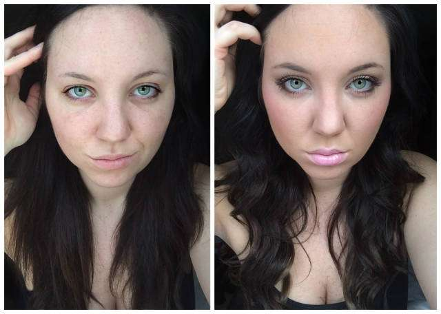 До и после макияжа.