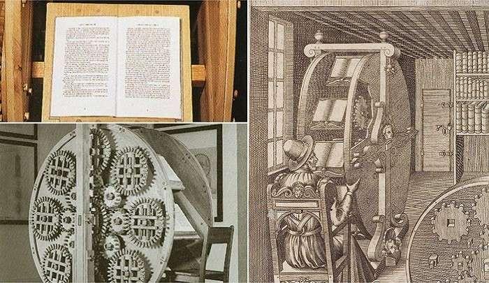 Книжное колесо - вращающийся читальный стол XVI века