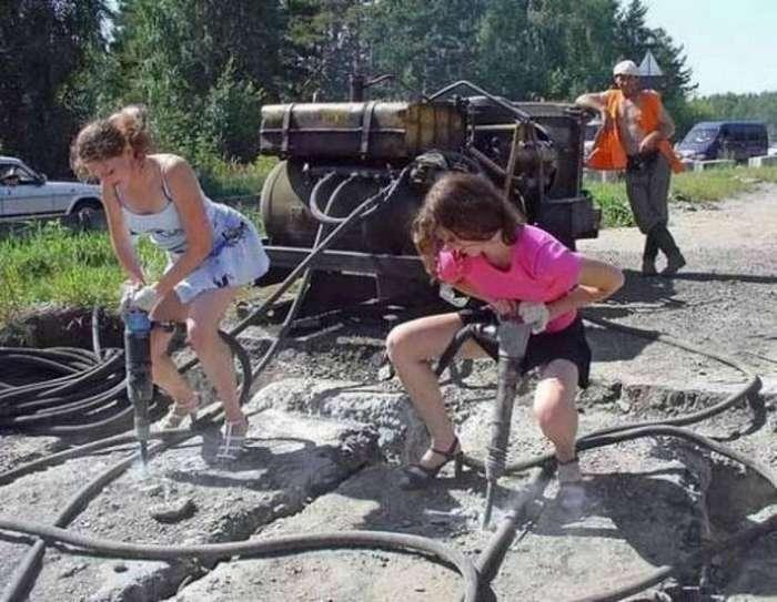 Женщины, выполняющие мужскую работу