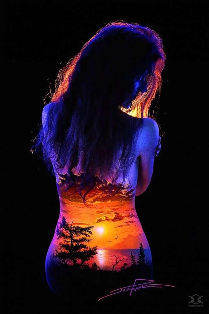 Фантастические светящиеся пейзажи на телах