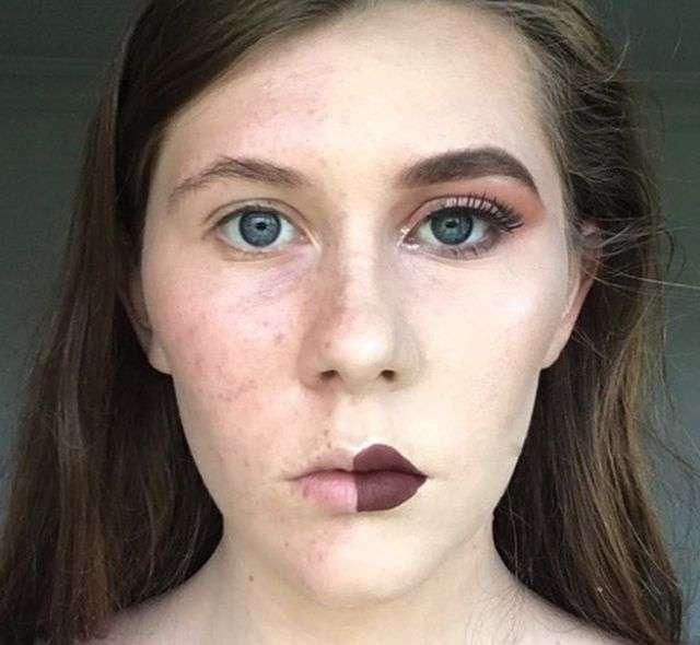Девушки красят половину лица