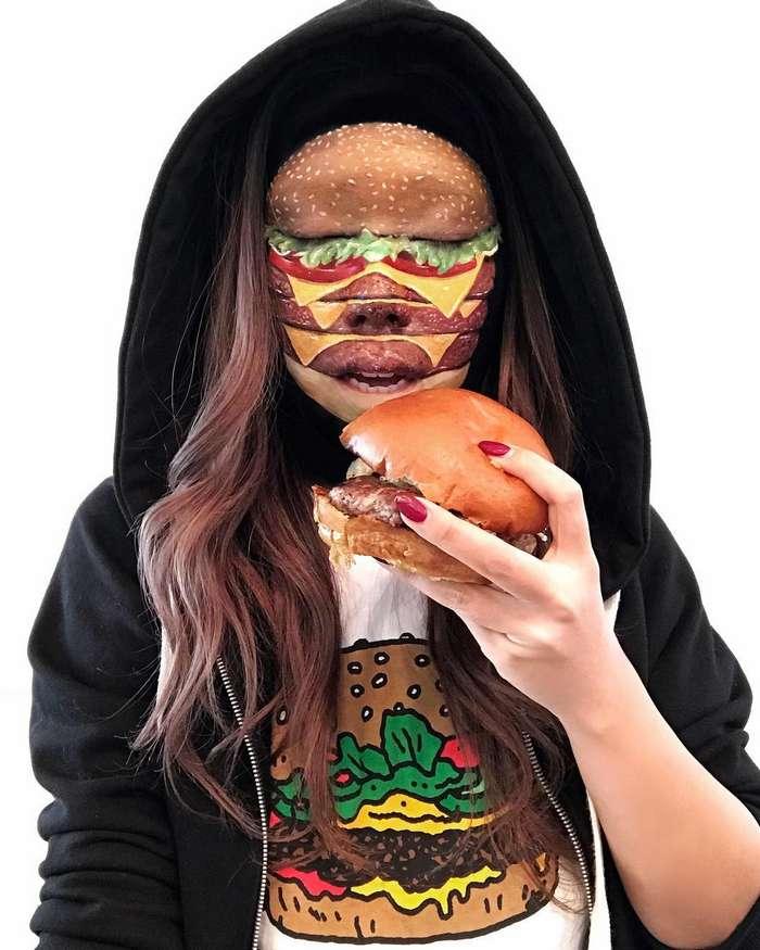-Я тебе сейчас лицо обглодаю-: канадская визажистка рисует на женских лицах бургеры, роллы и пиццу
