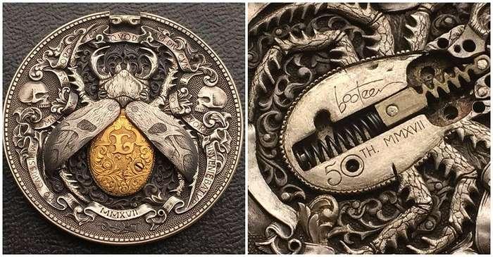 Русский мастер гравировки создал уникальную монету -Золотой жук-