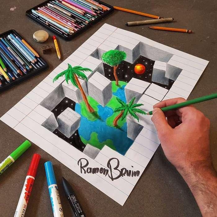 Поразительные анаморфные рисунки Рамона Брёйна