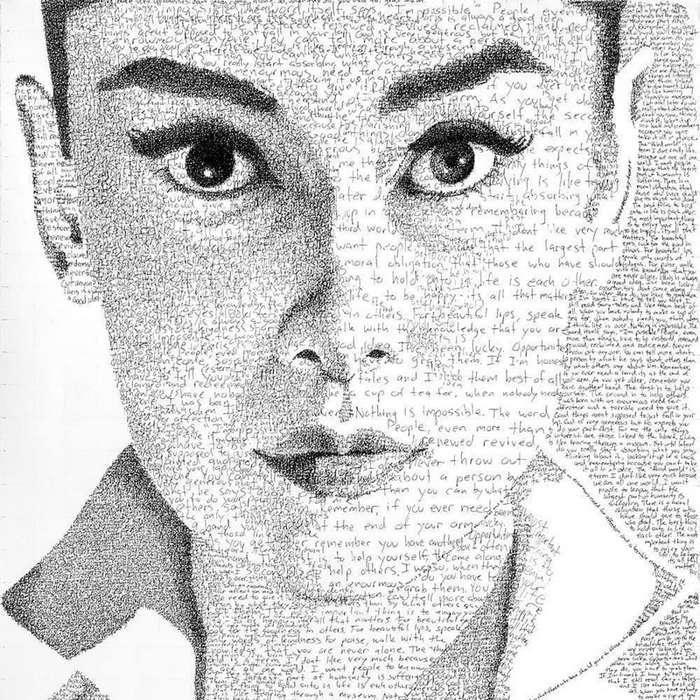 Художник тратит сотни часов на создание портретов из рукописного текста