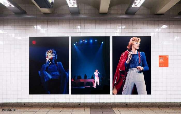 Необычные инсталляции памяти Дэвида Боуи в Нью-йоркском метро