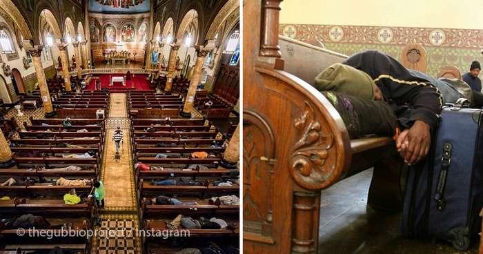 В этой церкви бездомным позволяют спать на лавках. Их даже укрывают одеялами!