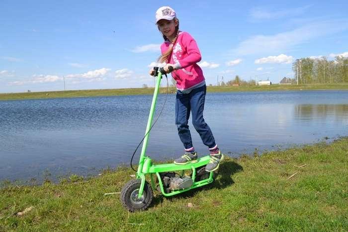 Самодельный мотосамокат для ребенка-5 фото + 1 видео-