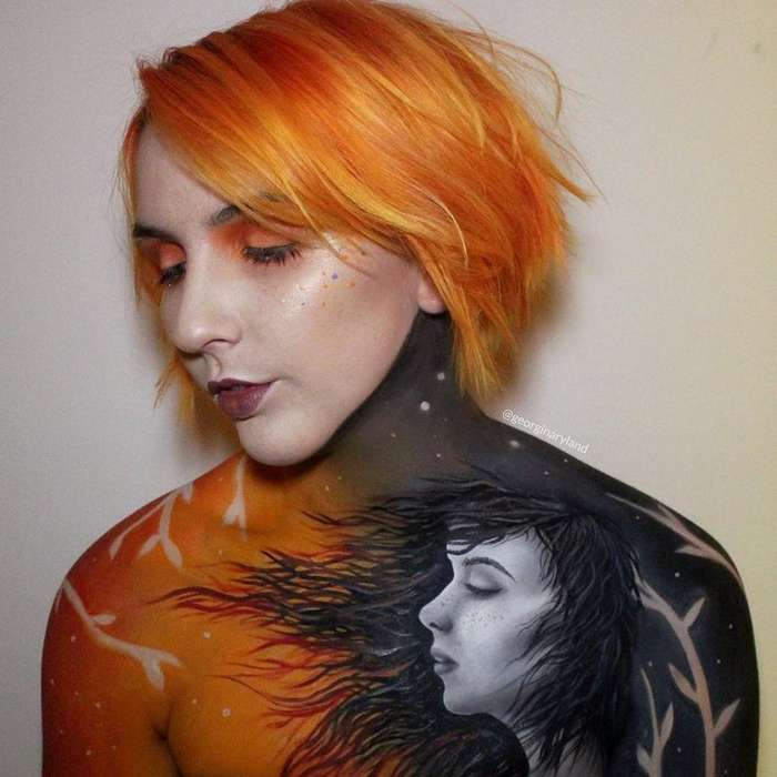 Художница рисует невероятные картины на собственном теле-39 фото-