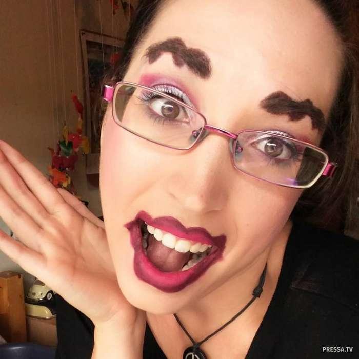 """Забавный макияж у девушек в стиле """"Автоледи"""""""