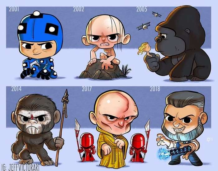 Художник показал эволюцию культовых персонажей за годы пребывания на экране