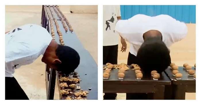 Поработал головой: индиец разбил лбом 217 орехов
