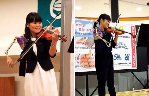 Японка с одной рукой виртуозно играет на скрипке -14 фото + видео-