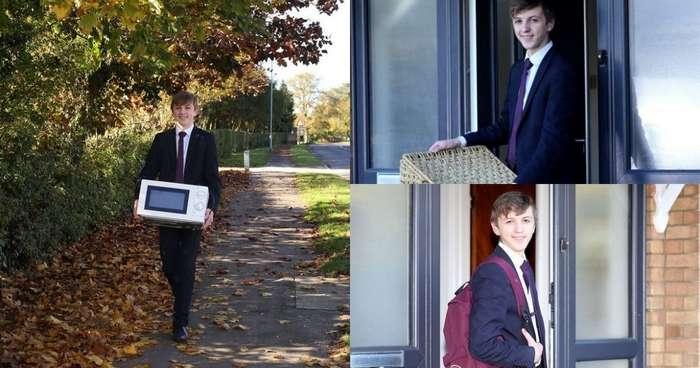 В британской школе запретили носить рюкзаки, и ученик пришел на занятия с микроволновкой