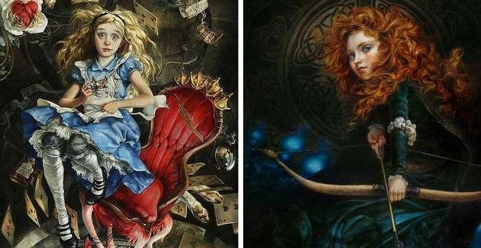 Художница представила, как выглядели бы персонажи Диснея, если бы их рисовали несколько веков назад