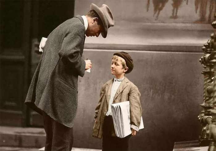Детский труд в начале ХХ века в США: старые фото в цвете-10 фото-