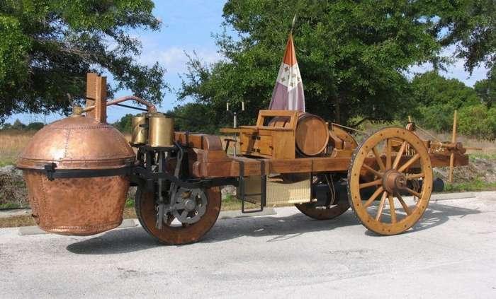 Паровая телега Кюньо - прототип автомобиля и паровоза 1769 года-1 фото + 1 видео-
