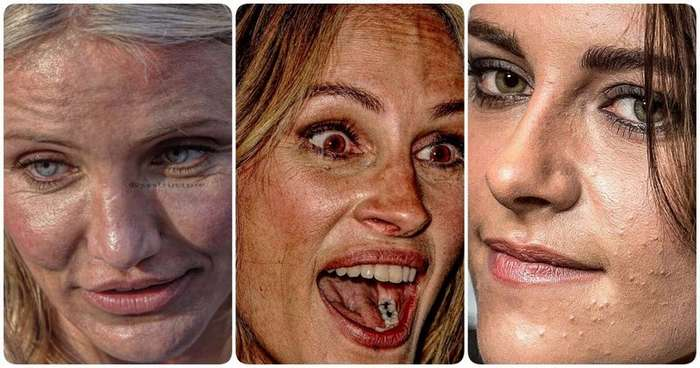 Ну что ж ты страшная такая: как реально выглядят лица знаменитостей вблизи-19 фото-