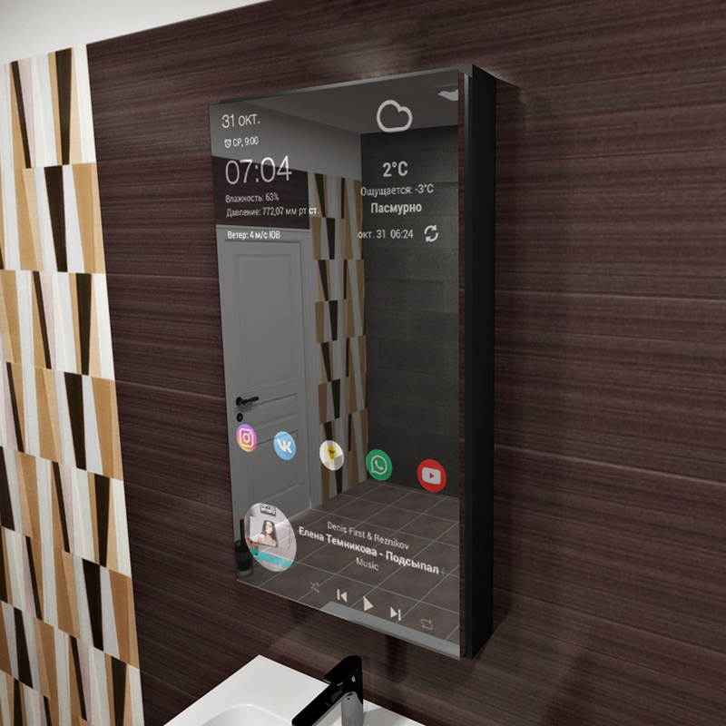 Мебель будущего — шкафчик для ванной с интерактивным зеркалом (5 фото)