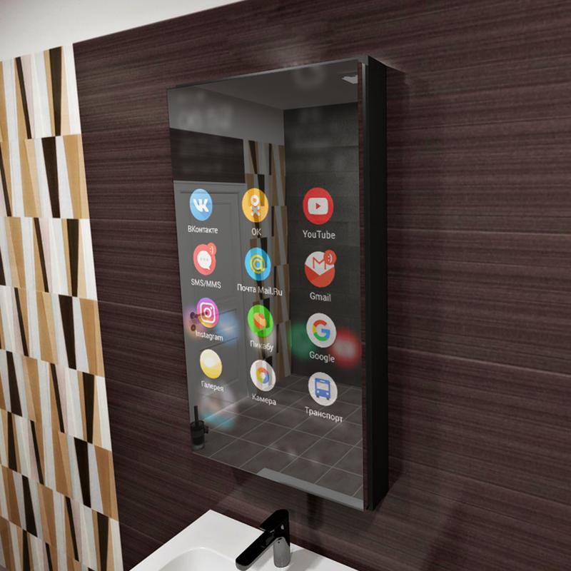 Мебель будущего - шкафчик для ванной с интерактивным зеркалом-5 фото-