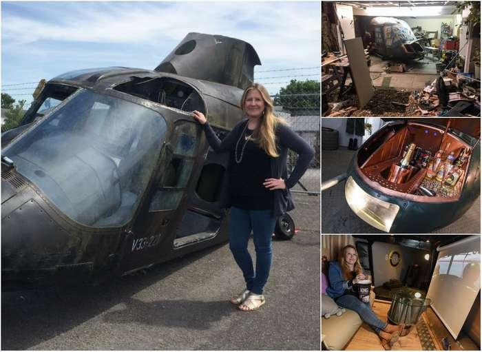 Британка потратила £10 000, чтобы превратить старый вертолет в кинотеатр