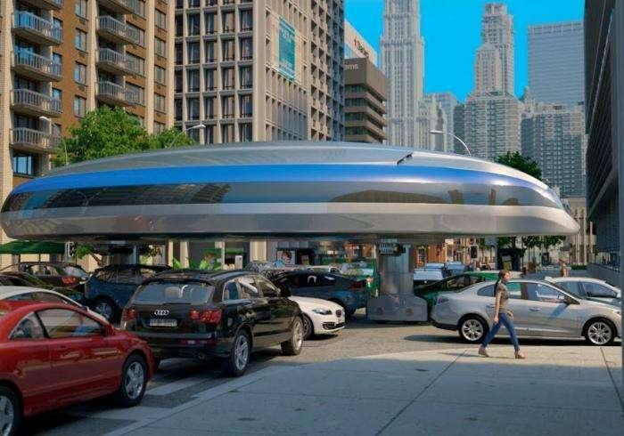Футуристический автобус перешагивает пробки и приседает под мостами -3 фото + видео-