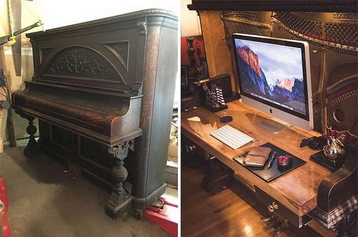 100-летнее пианино превратили в рабочий стол класса люкс