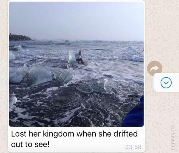 Пожилая женщина хотела сфотографироваться на льдине, но ее унесло в море Интересное