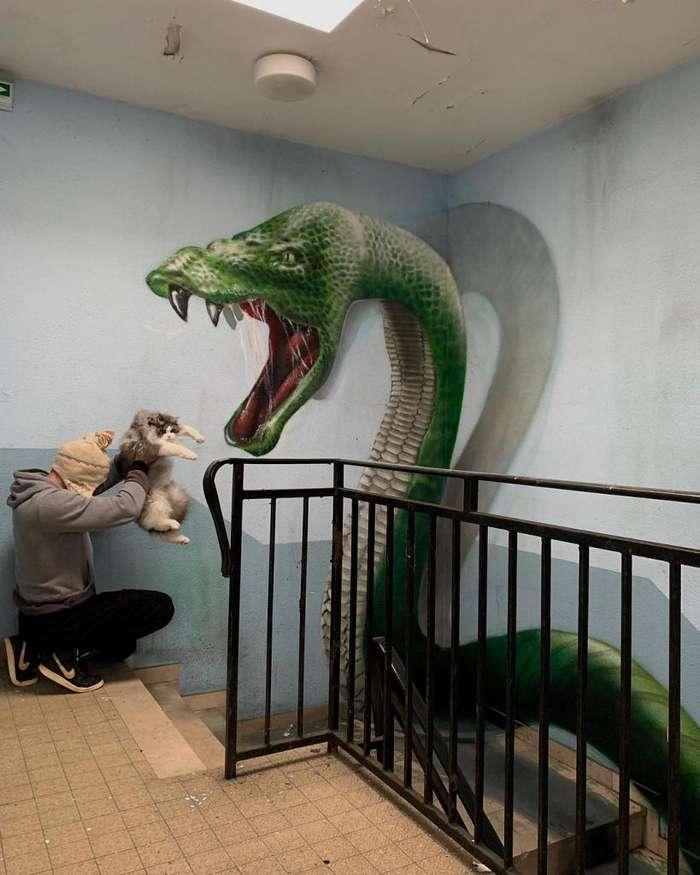 10 впечатляющих 3D-рисунков французского уличного художника Интересное