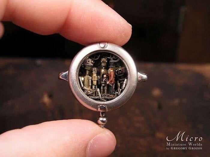 Художник создаёт внутри часов фантастические миниатюрные стимпанк миры                      Интересное
