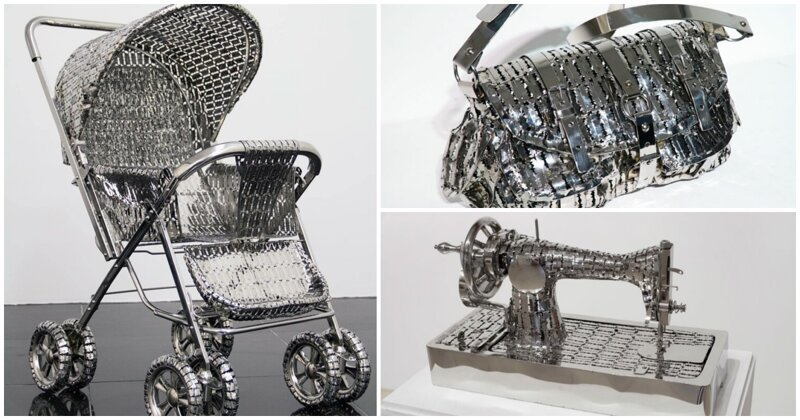 Поразительные скульптуры из десятков лезвий для бритвы-22 фото-