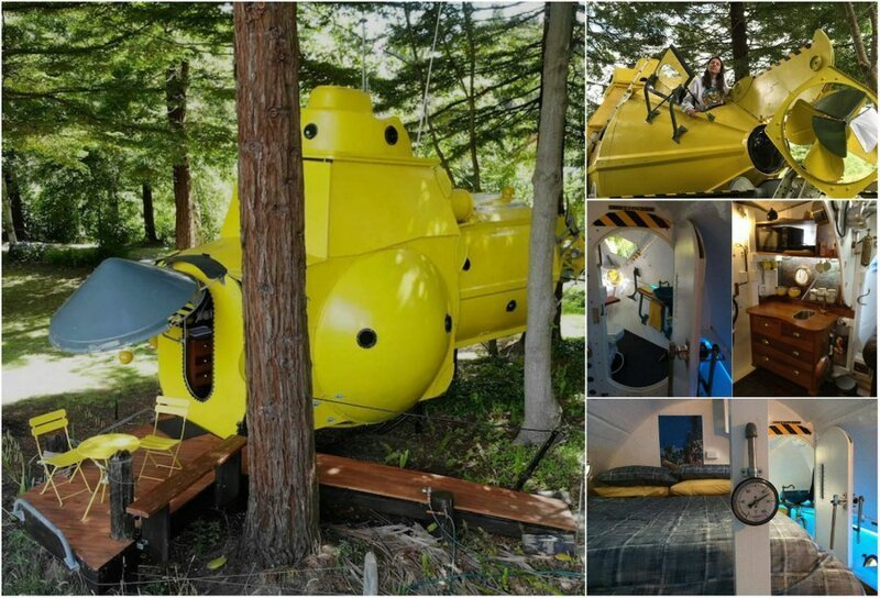 Новозеландец построил желтую подводную лодку в лесу-14 фото-