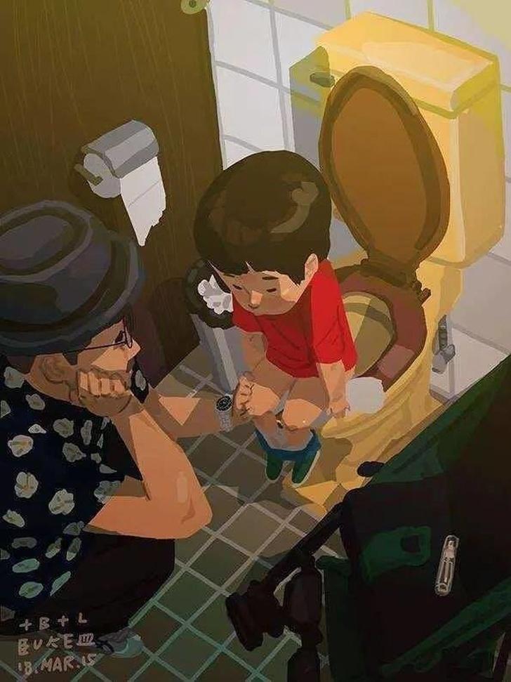 Трогательные иллюстрации отца-одиночки Интересное