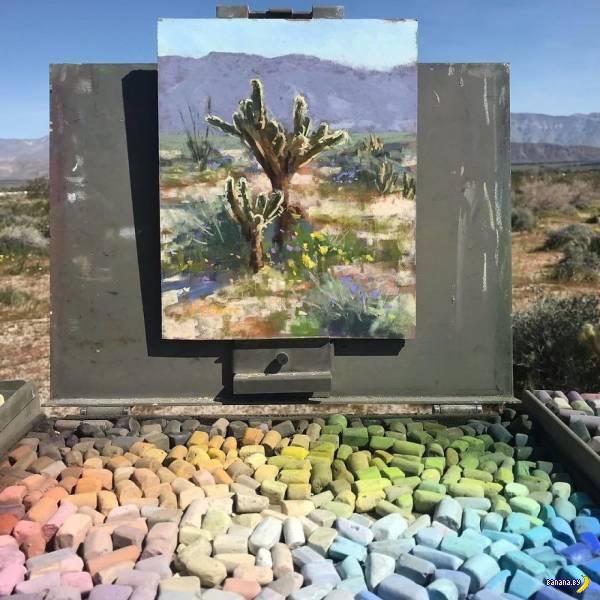 Художник комбинирует картины с пейзажем Интересное