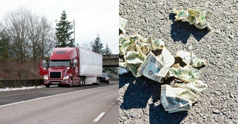 В Мичигане с грузовика упала коробка с $30 000 - деньги разобрали прохожие-3 фото + 1 видео-