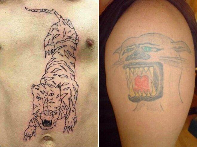 Что бывает, когда люди хотят сэкономить на татуировке и обращаются к плохому мастеру                      Интересное
