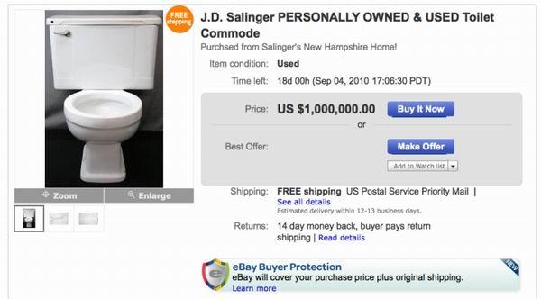 10 вещей, принадлежавших -звёздам- и ставших самыми необычными лотами аукциона eBay
