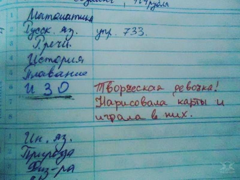 Забавные замечания в школьных дневниках юмор