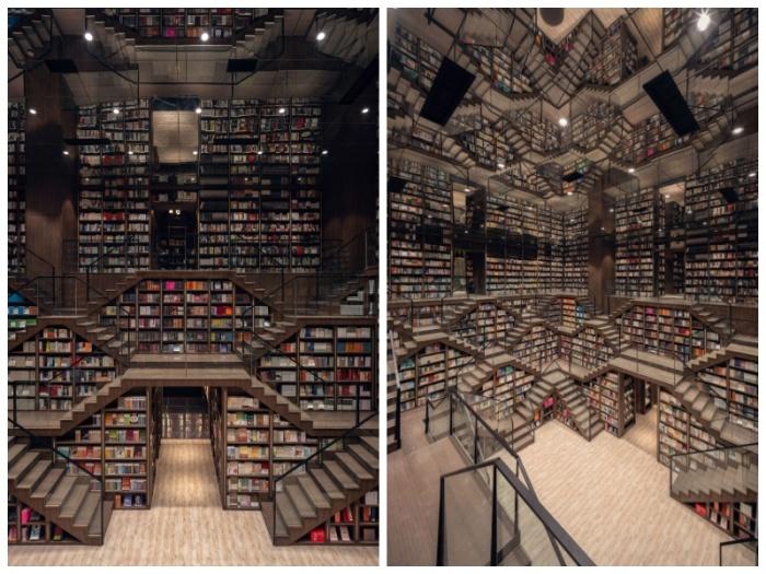 В Китае появился книжный магазин, переполненный завораживающими оптическими иллюзиями Интересное
