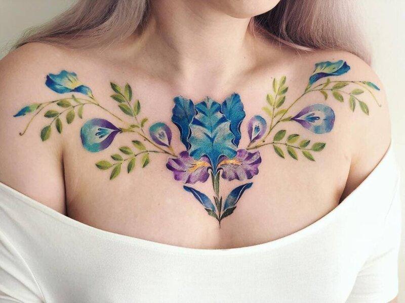 17 татуировок на груди, которые затмят собой все украшения-18 фото-