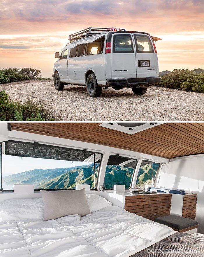 Невероятные превращения фургонов и автобусов в комфортабельные дома на колёсах