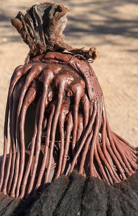 Намибийские красотки хвастаются глиняными дредами                      Интересное