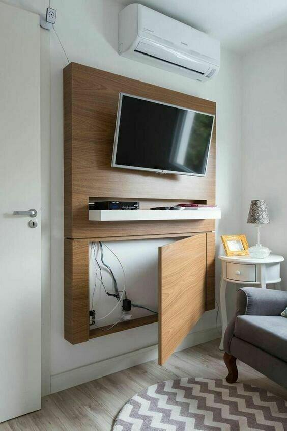15 прикольных приемов, как спрятать телевизор в интерьере, чтобы не мешались провода-16 фото-