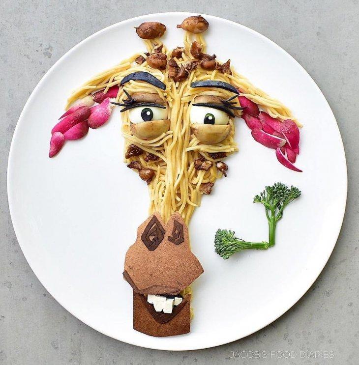 Герои известных мультфильмов из еды