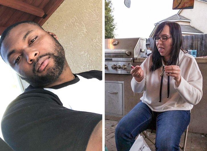 Парень попросил влюбленных показать, как они фотографируют друг друга. Похоже, девушки слегка недовольны