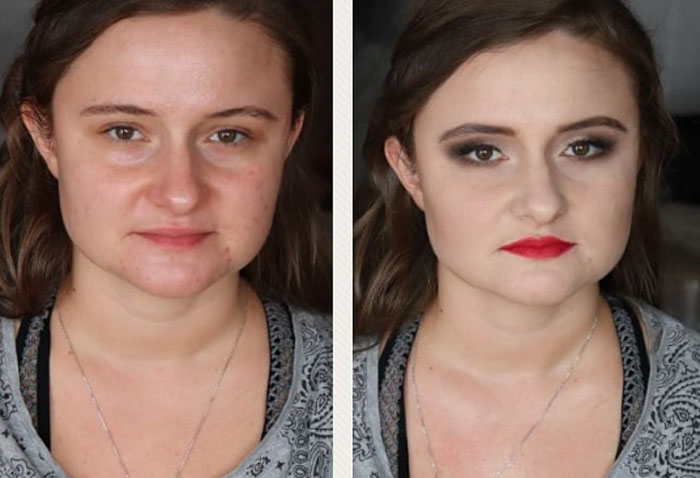 Чудеса мейкапа: трудно поверить, что на фото -до и после- - один и тот же человек