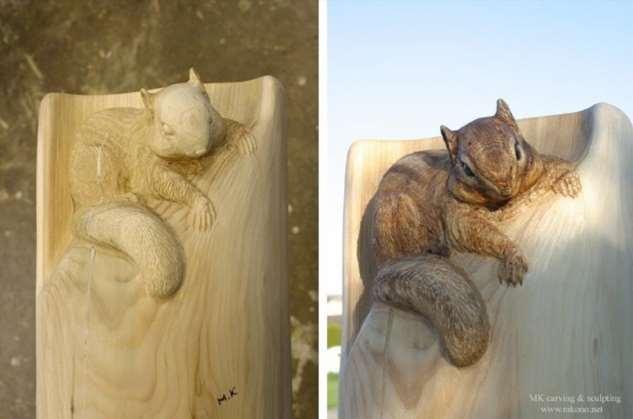 Японский скульптор создает из поваленных деревьев уникальные фигуры  Интересное