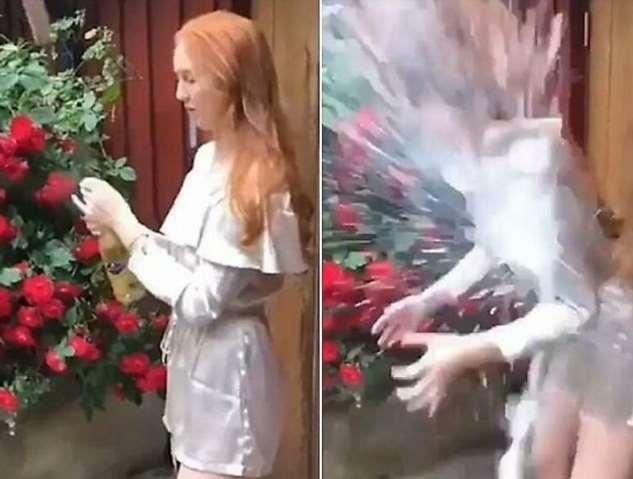 Рыжая девушка неудачно откупорила бутылку с шампанским (4 фото + 1 видео)