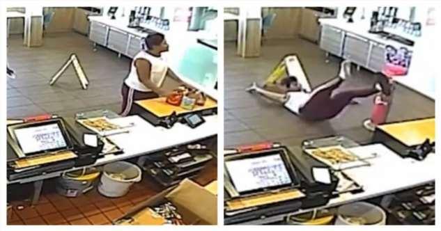 Поругавшаяся с сотрудницей Макдоналдс женщина поймала своим лицом блендер (2 фото + 1 видео)